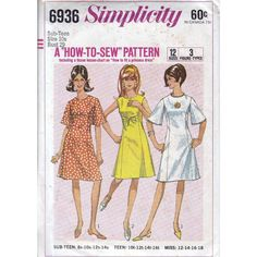 60s simplicity princess dress sewing patterns 6936, Bust 29 inches, mod dress pattern, uncut, factory folded