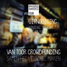 Uitnodiging voor 31 maart voor de informatiebijeenkomst over Van Toor Crowdfunding