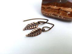 Antiqued copper leaf #earrings, handmade nature lover #gift, boho style gift for her under 15, gardener plant sitter gift, copper leaf jewelry ________________________  Gentl... #womensgift #minimalist ➡️ http://etsy.me/29Yz8Ov