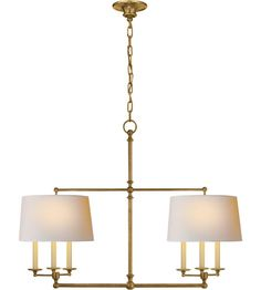 E.F. Chapman Classic 6 Light Linear Pendant in Hand-Rubbed Antique Brass SL5816HAB-NP Visual Comfort