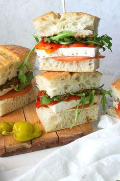 Vegan Mediterranean Sandwiches   This Savory Vegan Healthy Sandwiches, Wrap Sandwiches, Marinated Tofu, Vegan Main Dishes, Roasted Red Peppers, Ciabatta, Vegan Dinners, Quinoa, Hummus
