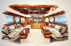 Naval Architect, boat builderss and yacht interior designers Drawing Interior, Interior Rendering, Interior Sketch, Interior And Exterior, Architecture 101, Architecture Sketchbook, Architecture Visualization, Environment Sketch, Interior Design Presentation