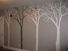 I've been contemplating on doing one silver tree with light purple wall paint in the living room.