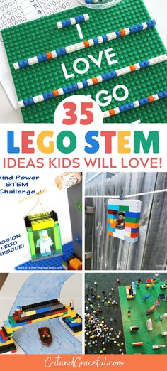 35 Awesome Lego STEM activities that will keep your kids busy for hours! Perfect for work at home parents and summer time. Kids Activities At Home, Lego Activities, Activity Toys, Awesome Lego, Cool Lego, Lego Math, Lego Challenge, Stem For Kids, Lego Projects