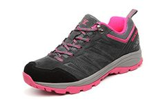 Womens Low Top Outdoor Hiking Shoe  Durable Fashion Trail Shoes Breathable Suede For Women Grey Pink *** Learn more by visiting the image link.