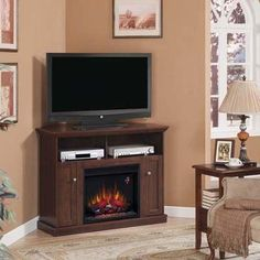 Hampton Bay Charles Mill 46 in. Convertible Media Console Electric Fireplace in Dark Cherry-DISCONTINUED-23DE9447-PC72 at The Home Depot