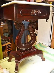 Victorian Style Carved Solid Mahogany Marble Top Table Night Stand Harp Base