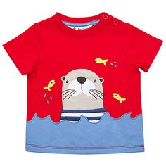 Buy John Lewis Baby Otter T-Shirt, Red Online at johnlewis.com
