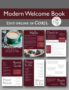 Modern Welcome Book -- Vacation Home Printable Template, Airbnb Printable, Beach Rental, 6 Pages - Edit online with Corjl Cancun, Restaurant Discounts, Airbnb House, Book A Hotel Room, Hotel Safe, Edit Online, Enjoy Your Vacation, Air B And B, Commercial