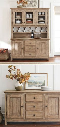 Rustic Buffet: Inspired by bold, industrial character the Benchwright Buffet makes a dramatic backdrop for creative entertaining. Rustic Buffet, Dining Room Buffet, Dining Room Furniture, Rustic Furniture, Rustic Decor, Dining Table, Modern Farmhouse Kitchens, Rustic Kitchen, Farmhouse Ideas