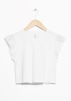 & Other Stories image 1 of Perforated Sleeve Crop Top in White