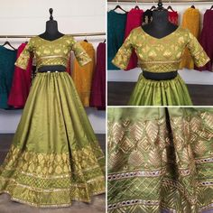 Green slub silk embroidered wedding lehenga choli