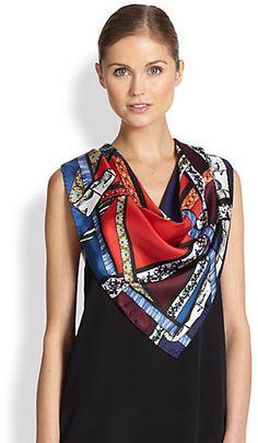 KENZO Ribbon-Print Silk Scarf