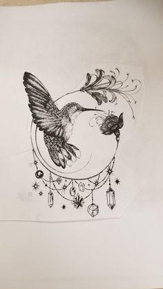 - New Ideas (notitle)<br> (notitle) Hummingbird Tattoo Watercolor, Hummingbird Flower Tattoos, Hummingbird Tattoo Meaning, Hummingbird Drawing, Geometric Hummingbird Tattoo, Bird And Flower Tattoo, Tattoo Oma, Arm Tattoo, Body Art Tattoos