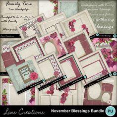 Digital Scrapbooking Kits | November blessings bundle-(LinsCre) | Family, Holidays, Holidays - Thanksgiving, Memories, Seasons - Autumn | MyMemories