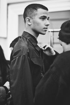 Backstage at Matthew Miller AW12, London Fashion Week.Keith Hernandez at Elite by Cecilie Harris.