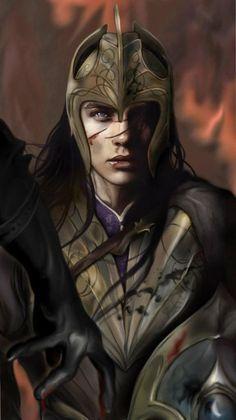 Gil-Galad foi o Alto-Rei dos Noldor na Segunda Era do Sol na Terra-Média, e também um dos mais notáveis e poderosos elfos da História de Arda. Gil-Galad foi morto pela Mão Negra de Sauron que queimava como o fogo.   Art by: Cherif Fortin