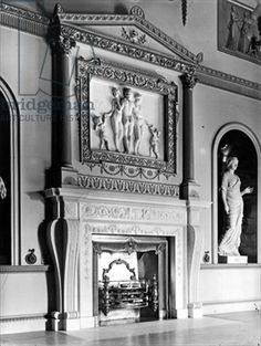 Fireplace - The State Dining Room, Syon House, London, from 'The English Country House' (b/w photo) by English Photographer, (20th century) - Bridgeman - Art, Culture, History