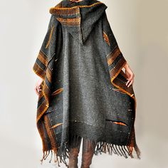Dark Gray Handwoven Poncho (Sold - Accepting custom orders). €1,800.00, via Etsy. Inspiration Photo 2
