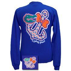 9c732bd29d4936 New Florida Gators Chevron Anchor Bow Sweet Girlie Bright Long Sleeves T  Shirt