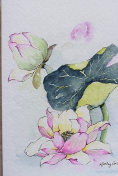 Lirio de agua Patch loto flores acuarela pintada a mano