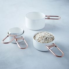 Copper + Enamel Measuring Measuring Cups, Set of White/Copper at West Elm - Kitchen Tools & Utensils - Kitchen Accessories Kitchen Supplies, Kitchen Items, Kitchen Tools, Kitchen Gadgets, New Kitchen, Kitchen Decor, Kitchen Products, Kitchen Measuring Tools, Kitchen Things