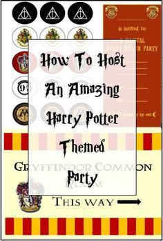 GUIDE ON HOW TO HOST A MAGICAL HARRY POTTER PARTY, INCLUDING FREE PRINTABLE DECORATIONS https://bethscrafts.wordpress.com/2015/04/27/how-to-host-an-amazing-harry-potter-themed-party/