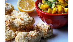 Yogurt-Marinated Fish Sticks with Avocado Mango Salsa - SavvyMom