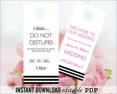 Wedding Do Not Disturb Door Hanger Sign By Weddingprintablesdiy