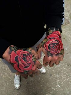 Red Rose Tattoos On Both Hands