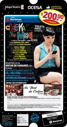 ¡GANA UNA CENA DE LUJO CON EL ELENCO DE CHEKA TU MAIL! ¿Cómo? ¡Ven y participa en la Noche de Karaoke con Estelita!