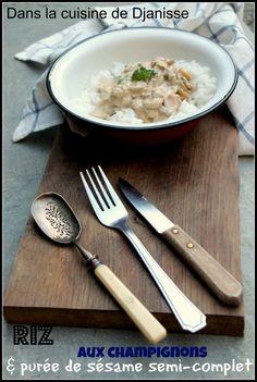 Riz & sauce champignons crèmes de sésame - Vegan