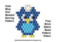 Cute Blue Owl Earrings Brick Stitch Bead Pattern