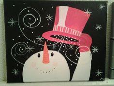 Sneeuwpop geschilderd door margo den boer