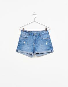 Calções de ganga arregaçados - Shorts - Bershka Portugal