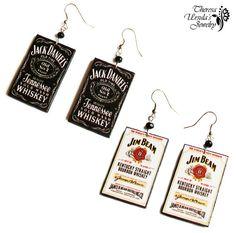 Jack Daniels / Jim Beam Whiskey EARRINGS decoupage