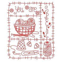 Redwork Patchwork embroidery design
