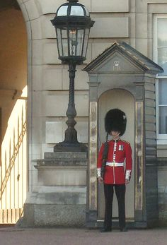Guarding Buckingham Palace - tried to make him talk!  Ha - as if I could do better than anyone else!