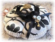 Handmade Pincushion Soft Sculpture BLACK and by CharlotteStyle