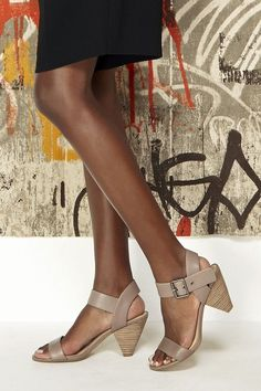 87cc1dc4d07c Leather mid heel sandals with triangle-shaped heels and metal hardware Mid  Heel Sandals