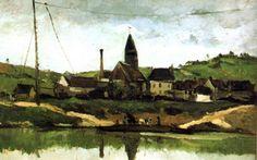 Título original en francés: Vue de Bonnieres. En inglés: View of Bonnieres.  Paisaje francés pintado por Paul Cézanne en 1866, óleo sobre tela.