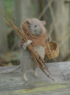"Needle felted mouse by Natasha Fadeeva √~  ""Oh Roger....can you get the shovel!"""