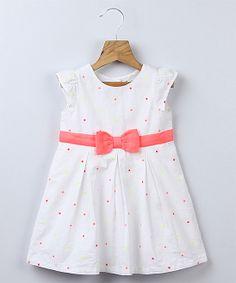 White Polka Dot Cap-Sleeve Dress   Мода Для Маленьких Дівчат 5773f23bb7a8e