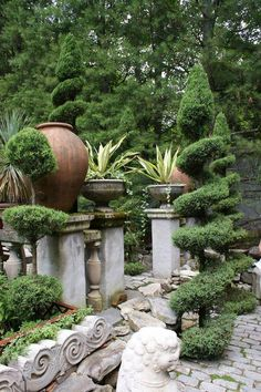 topiaries + urns.