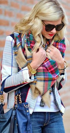 Looks like Plaid is in this winter. Love this Ralph Lauren scarf with the BB Dakota Jacket and Paige jeans. And of course the Michaël Kors tote. Lovely smart casual style! #Styling #Plaid #Chic