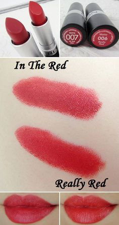 "Revlon Super Lustrous Matte Lipstick - Really Red & In The Red :: #lenallure Review: Goes on smoothly, feels light on the lips. NOT DRYING (unlike MAC Ruby Woo...). The matte formula ""really shines though red colors"" & stays on for hours, fades away beautifully w/o the drying effect. Both are blue-based reds. In The Red is darker w/ some brown undertone. Really Red is brighter--more of a true red. Good dupes for MAC Ruby Woo & Russian Red, respectively. 