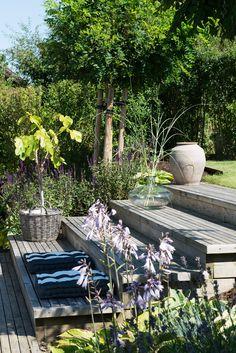 Outdoor Spaces, Outdoor Living, Outdoor Decor, Dream Garden, Home And Garden, Sloped Backyard, Garden Seating, Yard Design, Garden Pool