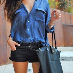 Love baggy/oversized shirts. #baggy #oversized #shirt #blue #longsleeve #slongsleevedshirt #shorts #leather #bag #leatherbag #ootd #brunette #tan #fashion #style - @ootd_l0ve- #webstagram