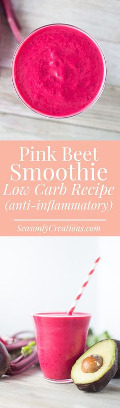 Pink Smoothie Recipe. This low carb smoothie recipe is full of antioxidant and anti-inflammatory properties, and is made with nutritious beets! If you're following a low carb or keto diet and miss having smoothies, you'll definitely want to try this smoothie out! #keto #ketodiet #lowcarbdiet #lchf #smoothies #smoothierecipe #healthyrecipe #breakfastrecipe #healthybreakfast #weightloss #weightlossrecipe #avocado Pink Smoothie Recipe, Beet Smoothie, Smoothie Recipes, Low Carb Summer Recipes, Healthy Low Carb Recipes, Healthy Snacks, Low Calorie Drinks, Low Carb Smoothies, Anti Inflammatory Smoothie
