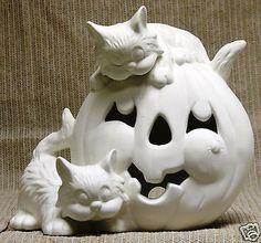 ceramic bisque pumpkins | Ceramic Bisque Pumpkin with Cats Light Kimple Mold 1561 U-Paint Ready ...